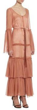 Cinq à Sept Della Tiered Silk Maxi Bell Sleeve Dress
