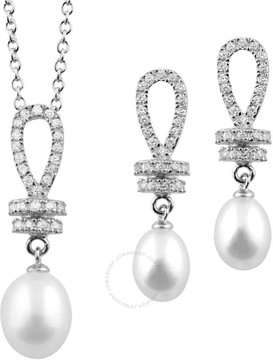 Bella Pearl Sterling Silver Cubic Zirconia Pearl Earring and Necklace Set