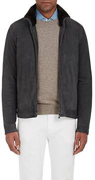 Isaia Men's Fur-Lined Suede Bomber Jacket