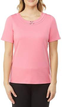 Allison Daley Petites Metal D-Ring Solid Crew Neck Tee