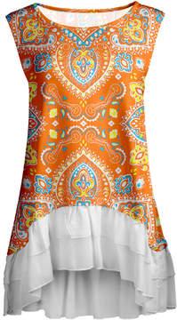 Lily Orange Scarf Print Ruffle-Hem Sleeveless Tunic - Women & Plus