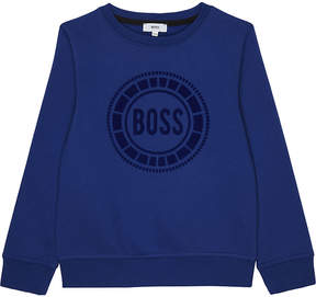 BOSS Flock logo cotton-blend jumper 4-16 years
