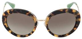 Prada Round Sunglasses PR16QS 7S04M1 55 | Tortoiseshell Frame | Gray Gradient Lenses