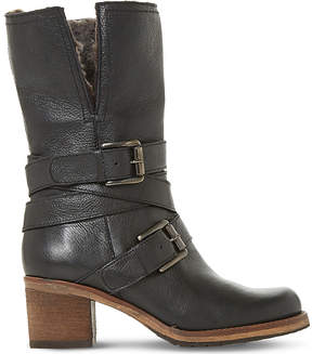Dune Ladies Black Buckled Fashionable Rockerr Leather Boots