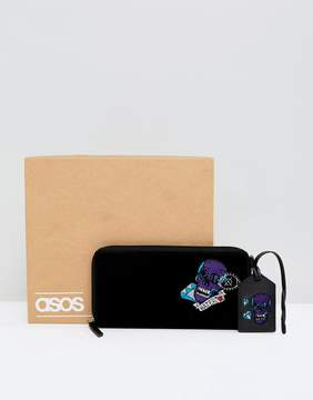 Asos Leather Gift Set With Embroidered Travel Wallet & Tag