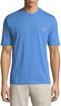 Neiman Marcus Crewneck Welt-Pocket T-Shirt, Blue
