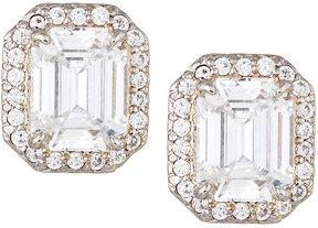 FANTASIA Emerald-Cut Pave Stud Earrings, Clear