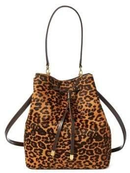 Lauren Ralph Lauren Leopard Print Calf Hair Debby Drawstring Bag