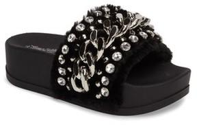 Jeffrey Campbell Women's Edie Faux Fur Slide Sandal
