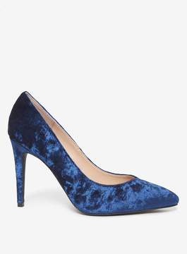 Dorothy Perkins Wide Fit Navy Velvet 'Evie' Court Shoes