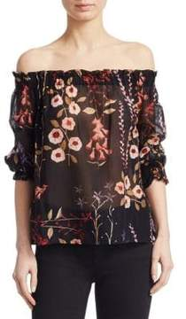 Emporio Armani Off-The-Shoulder Floral Blouse
