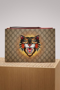 Gucci Angry Cat embroidered GG Supreme pouch - B E OR V H R M CR G - STYLE