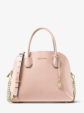 Michael Kors Mercer Large Patent Leather Dome Satchel - PINK - STYLE