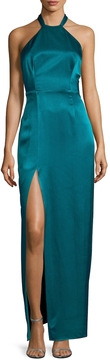 ABS by Allen Schwartz Women's Halter Exposed Back Maxi Gown