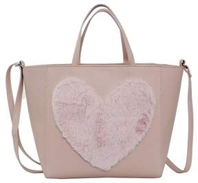 T-Shirt & Jeans Faux Fur Heart Tote Bag