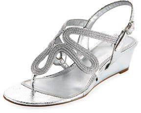Adrianna Papell Metallic Rope Wedge Sandal