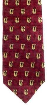 Gianni Versace Logo Print Silk Tie