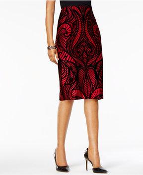 ECI Flocked Lace-Print Pencil Skirt