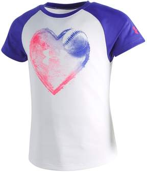 Under Armour Girls 4-6x Home Plate Heart Graphic Tee