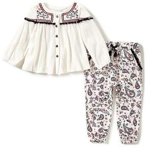 Jessica Simpson Baby Girls 12-24 Months Embroidered Long-Sleeve Top & Patterned Pants Set