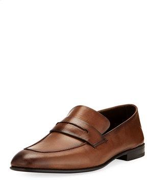 Ermenegildo Zegna Asola Napa Leather Penny Loafer, Light Brown