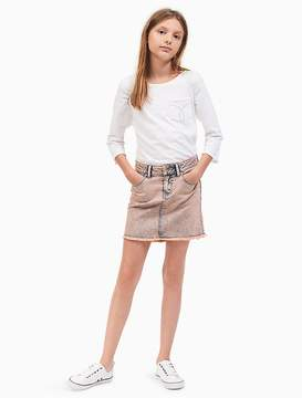 Calvin Klein Jeans Girls Overdyed Denim High-Low Skirt