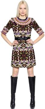 Andrew Gn Leather Trim Wool Blend Jacquard Dress