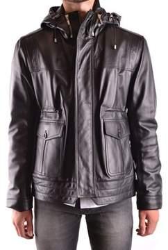 Trussardi Men's Black Leather Outerwear Jacket.