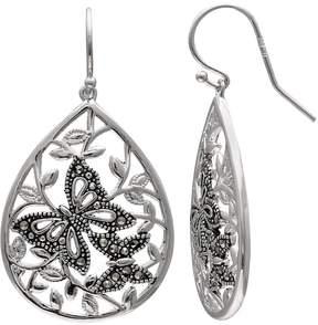 Brilliance+ Brilliance Silver Plated Marcasite Butterfly Teardrop Earrings
