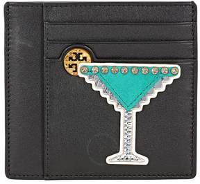 Tory Burch Martini Applique Square Card Case - Black - ONE COLOR - STYLE