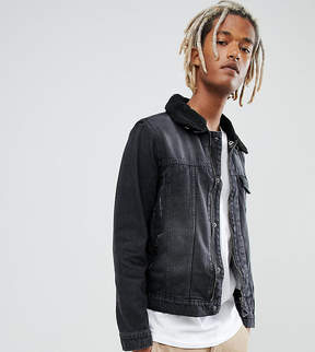 Co Brooklyn Supply Brooklyn Supply Washed Black Borg Denim Jacket