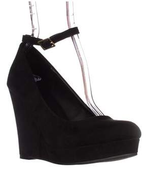 Material Girl Mg35 Vivie Ankle-strap Wedge Pumps, Black.