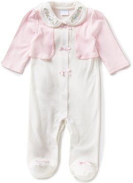 Edgehill Collection Baby Girls Newborn-6 Months Embroidered Footed Coverall