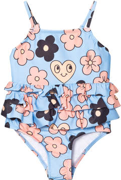 Mini Rodini Light Blue Flower Frill Swimsuit