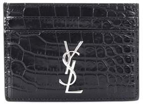 Saint Laurent Monogram embossed leather card holder - BLACK - STYLE