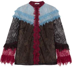 Erdem Ruffle-trimmed Lace Blouse - Black