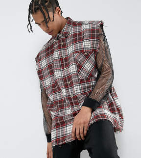 Reclaimed Vintage Inspired Oversized Sleeveless Shirt In Red Checked Flannel With Raw Hem
