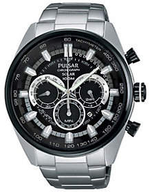 Pulsar Men's Stainless Chronograph Watch w/ Black Dial