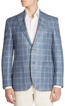 Saks Fifth Avenue COLLECTION Oversized Plaid Silk Blend Jacket