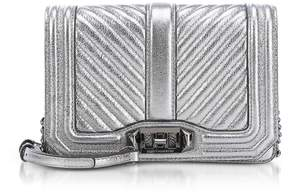 Rebecca Minkoff Laminated Chevron Quilted Small Love Crossbody - ANTHRACITE - STYLE