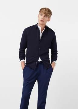Mango Outlet Cotton silk-blend knit shirt