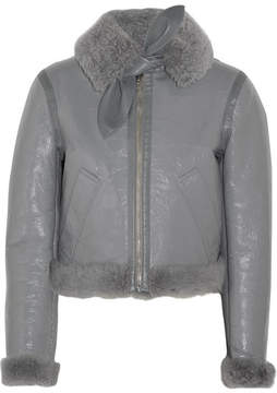 Balenciaga Bombardier Brilliant Polished-leather And Shearling Jacket - Gray
