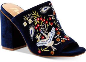 Nanette Lepore Nanette by Marsha Embroidered Slide Block-Heel Sandals Women's Shoes