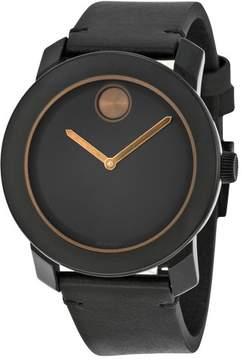 Movado Bold Black Dial Black Leather Men's Quartz Watch 3600297