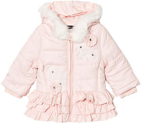 Kate Mack Biscotti Pink Ruffle Hem Embroidered and Faux Fur Hooded Puffer Jacket