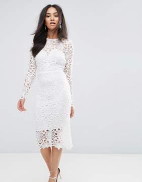 AX Paris Cream Lace Midi Dress With Cut Out Detail