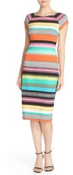 ECI Women's Stripe Pique Midi Sheath Dress