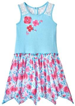 Nannette Girls 4-6x Print Hanky-Hem Dress