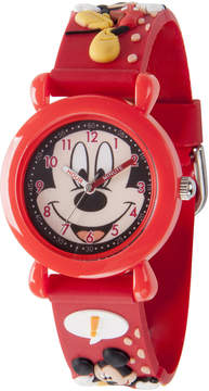 Disney Mickey Mouse Boys Red Strap Watch-Wds000392