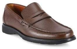 a. testoni Pebbled Leather Penny Loafers